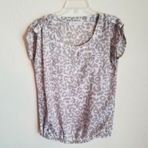 Ann Taylor Loft Grey Leopard Animal Print Blouse